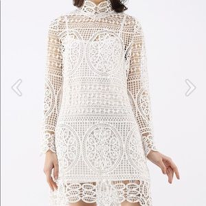 Moonlit Night Bell Sleeves Crochet Dress